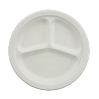 "Chinet Classic 10-1/4"" Dia, 3 Compartment Plate"