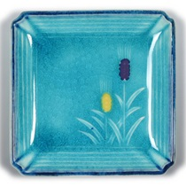 "Turquoise Blue Mugi 4.5"" Sq. Plate"