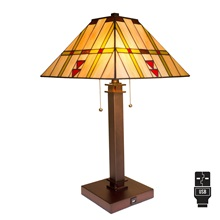 "24.25""H Craftsman USB Stained Glass Table Lamp"