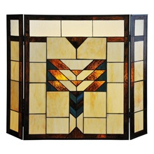 "26""H Mission Style Stained Glass Fireplace Screen"