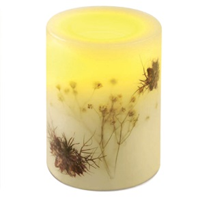 Candle Impressions® Flameless Rd Candle, Champagne w/Flowers