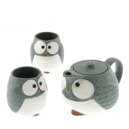 Tea Set Owl Blue