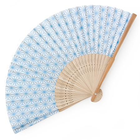 Folding Fan Asa-No-Ha Blue