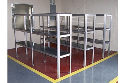 Custom Aluminum Storage Shelving for Chemical Mix-N-Load Systems