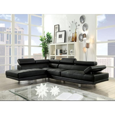 52650 CONNOR BLACK PU SECTIONAL SOFA
