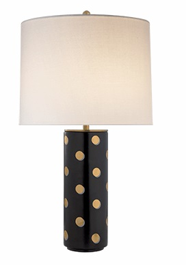 Kate Spade Cylinder Polka Dot Table Lamp with Cream Linen Shade  Linen Shade