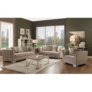 54266 BEIGE LOVESEAT W/4 PILLOWS