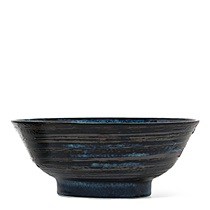 "BLUE BLACK SWIRL 8.25"" BOWL"
