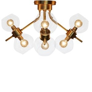 "14.5""H Ezo Brushed Gold and Glass Atom 8-Light Fixture"
