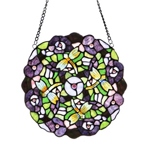 "12""H Tiffany Style Purple Pansy Panel"