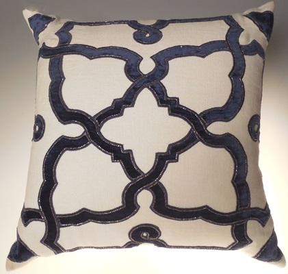 Navy Velvet Interwoven Pillow