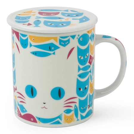 Mask Cat & Fish 8 Oz. Lidded Mug - White & Blue