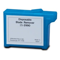 Blue disposable blade remover that holds 150 to 300 blades