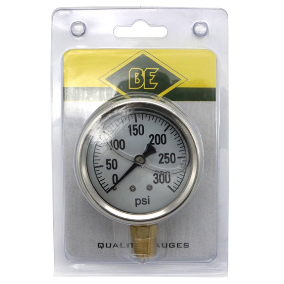 "Gly 400 PSI 2.5"" Face Bottom Mount Gauge Blister Pack-BOOK"