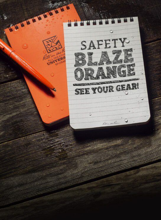 New Rite in the Rain Saftey Blaze Orange Notebooks.