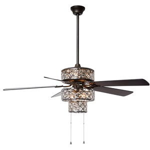 "52""W  Silver Punched Metal Triple-Tiered Clear K-9 Crystal Ceiling Fan With Remote Control"