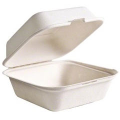 B003 6 X 6 X 3 WHITE HINGED CONTAINER, STALK