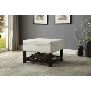 80700 CREAM PU COFFEE TABLE W/STORAG