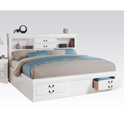 24484CK WH L.PIII CAL KING STORAGE BED