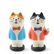 Figurine Bow Tie Cat Pair