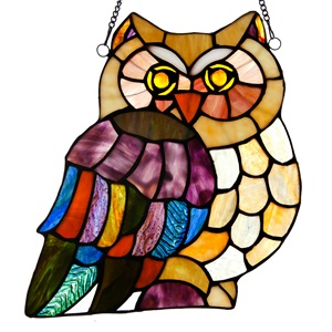 "11""H Stained Glass Hoot's Owl Window Panel"