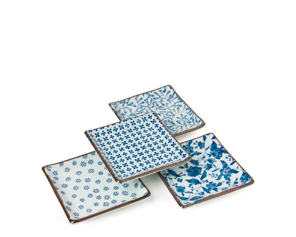 "Blue & White 5"" Sq. Plate Set"