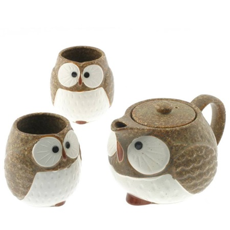 Tea Set Owl Brown