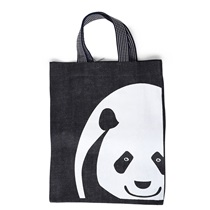 Black Denim Tote Panda