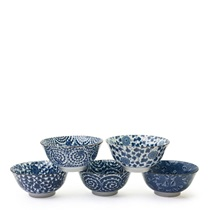 "FIVE PATTERN 6"" BOWL SET"