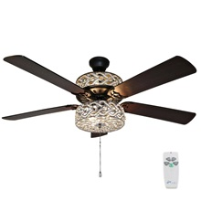 "52""W Olivia Double-Lit 5-Blade Beaded Braid Wedding Band LED Ceiling Fan with Remote Control"