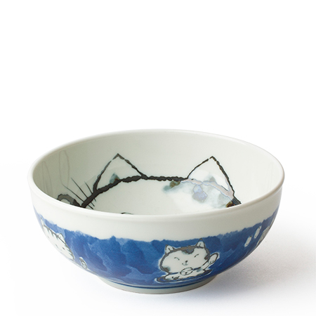 "Fortune Cat 6.25"" Bowl Blue"