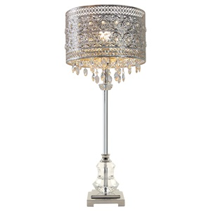 "28.75""H Brielle Polished Nickel and Crystal 1-Light Buffet Table Lamp - Silver"