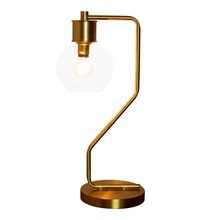 "19""H Ezo Brushed Gold and Glass Atom 1-Light Table Lamp"