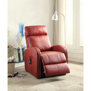 59406 RED PU POWER LIFT RECLINER