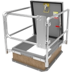 "36"" x 30"" Roof Hatch Safety Gate Bundle, Steel, Gray"
