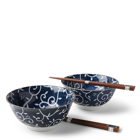 "Blue Vines 6"" Bowl Set/2"