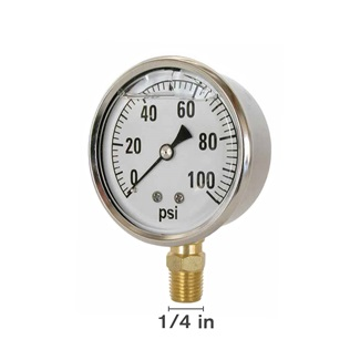 "Gly 100 PSI 2.5"" Face Bottom Mount Gauge"