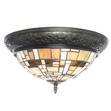 "15""W Stained Glass Mondrian Lines Flush Mount Ceiling Lamp"