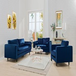 51075 NAVY SOFA W/2 PILLOWS