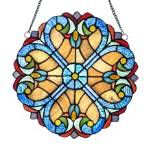"12""H Stained Glass Halston Window Panel - Multicolor"