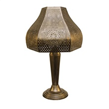 "23.75""H Moroccan Punched Metal Outdoor Solar LED Table Lamp"