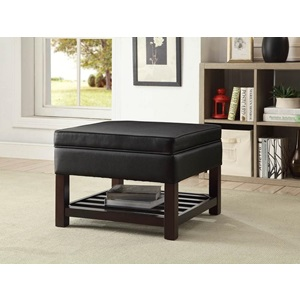 80695 BROWN PU COFFEE TABLE W/STORAG