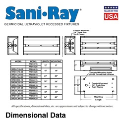 SaniRay® UV Recessed Air Surface Irradiating Fixtures - RRDHO18-RRDHO64 - High Output