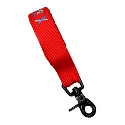 Value Nylon Webbing Strap for Structural Fire Gloves; Velcro w/ Snap Hook RED w/ Black Hardware