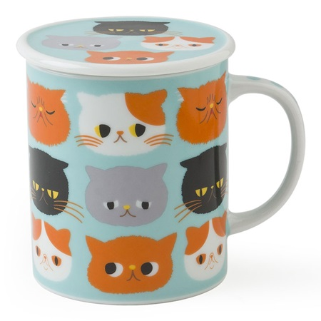Exotic Cat 8 Oz. Lidded Mug - Blue