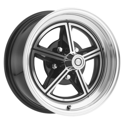 15 x 7 Magstar II Alloy Wheel, 5 on 4.5 BP, 4.25 BS, Gloss Black / Machined