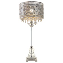 "28.75""H Brielle Polished Nickel and Crystal 1-Light Buffet Table Lamp"