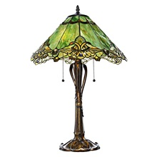 "24.75""H Tiffany Style Stained Glass Victorian Crystal Lace Table Lamp"