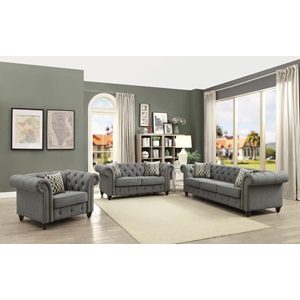 52426 GRAY LINEN LOVESEAT