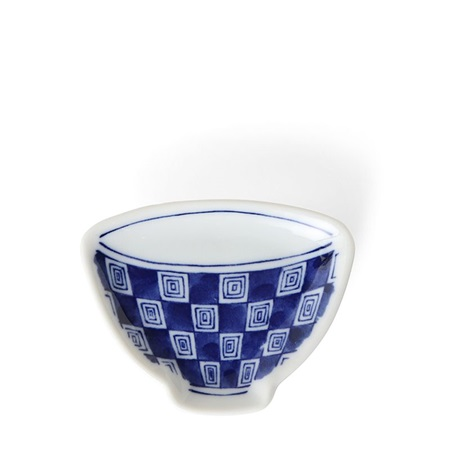 "Mini Plate 3.75"" Blue & White Teacup Check"